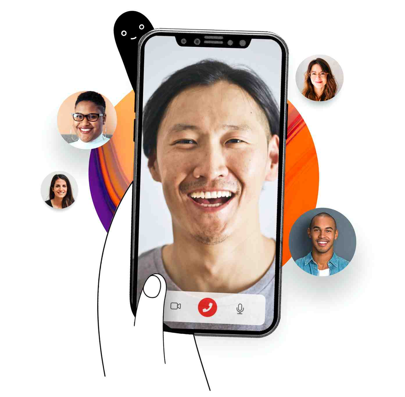 Clinician on a video call with other people around it in round bubbles