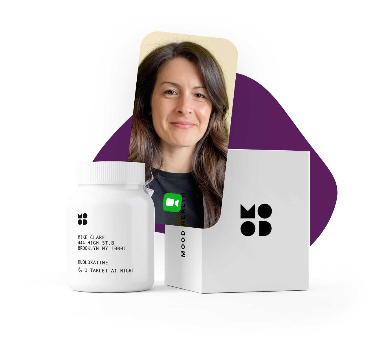 Photo of a clinician next to a pill bottle and a box with the Mood logos on them