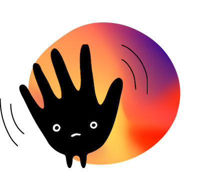 Hand-shaped Mood in front of painted blob