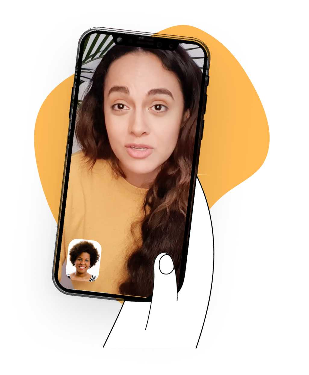 Having a video chat on a mobile phone held by a cartoon hand on top of a yellow blob